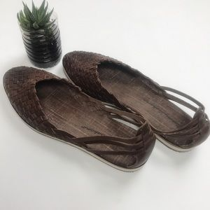 Tommy Bahama Women's Brown Leather Woven Sandals
